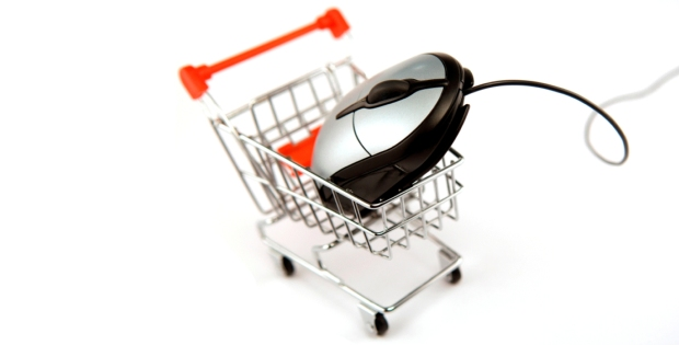 computer mouse in shopping basket