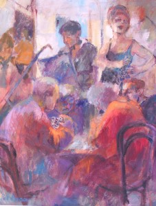painting of a cafe and jazz scene