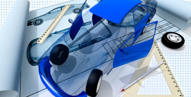 3d image of car with drawing from CAD