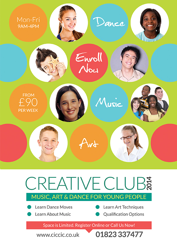 creative club summer school flyer