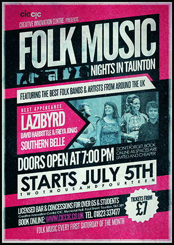 folk music at creative innovation centre flyer