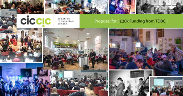 ciccic funding request with images of people using the arts centre