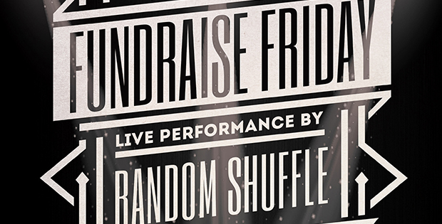 fund raising banner for live music with random shuffle