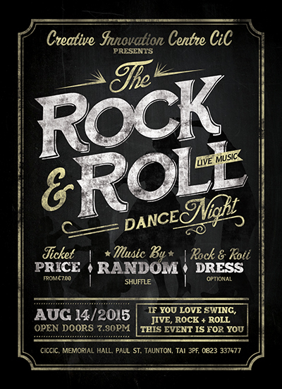 rock & roll dance live music night banner
