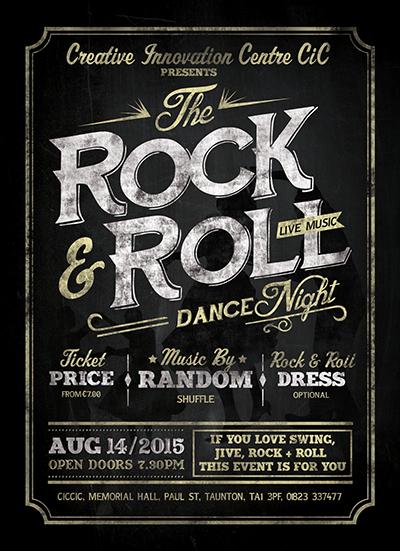 rock & roll dance live music night banner