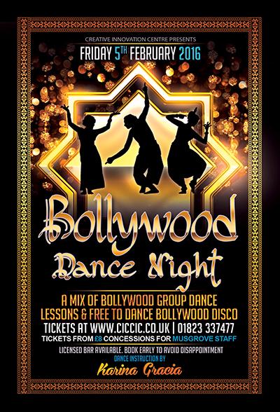bollywood night poster at ciccic taunton