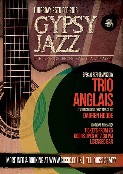 gypsy jazz poster at ciccic taunton