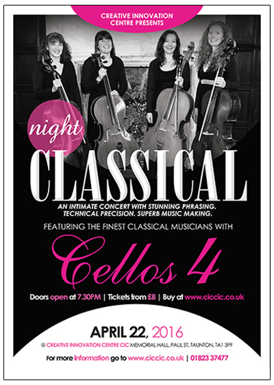 cellos 4 poster at ciccic taunton classical music night