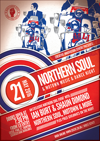 Northern Soul music and dance night at ciccic taunton poster