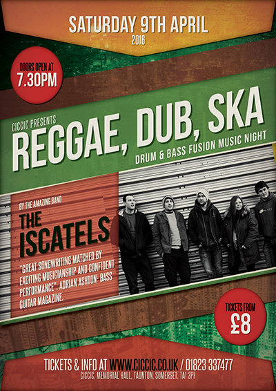 reggae, ska, dub, drum and bass music night poster at ciccic taunton