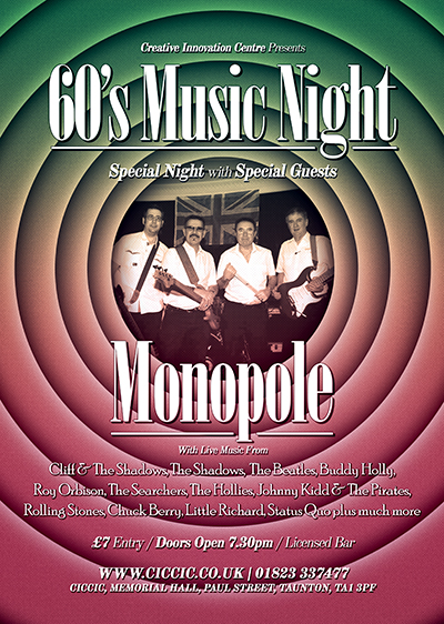 60's Live Music Night with Special Guests Monopole