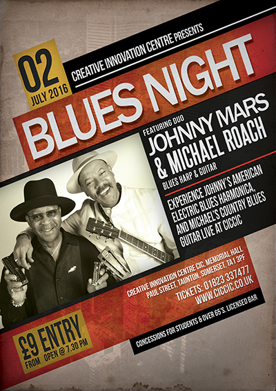 Johnny Mars & Michael Roach Blues Night poster at ciccic taunton