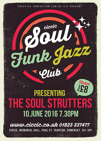 soul, funk, jazz club, ciccic taunton poster