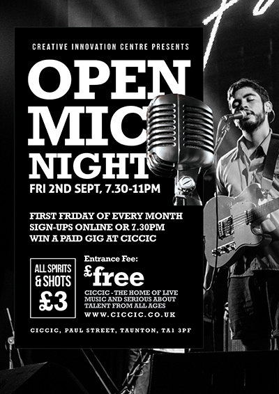 open mic night at ciccic taunton poster