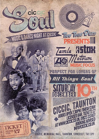 soul music night at ciccic taunton poster