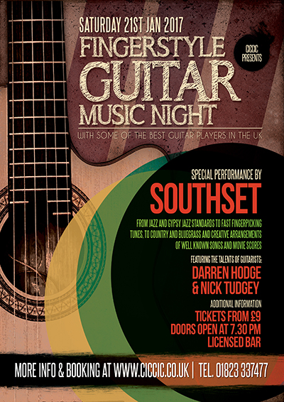 guitar night poster with southset